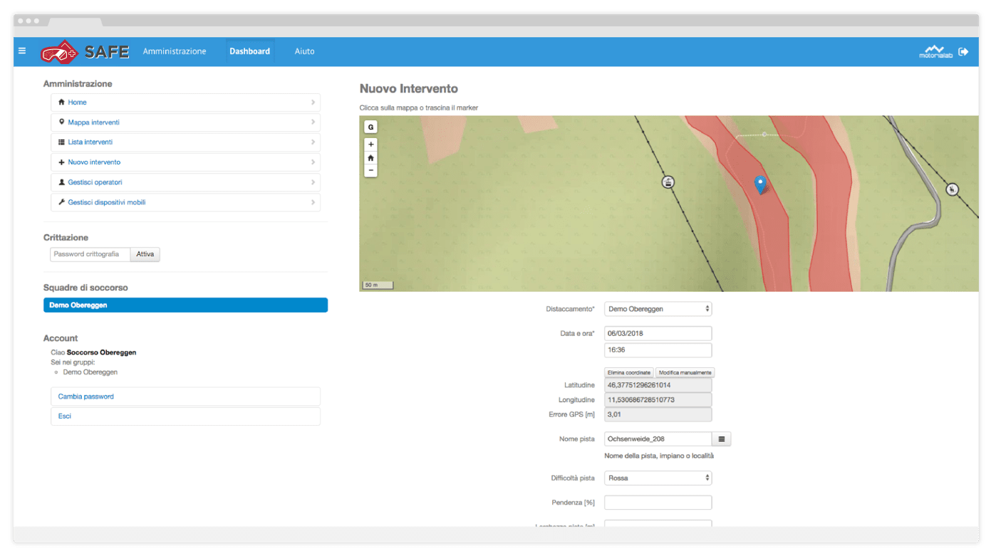 Automatic field completion with track, difficulty, width, categories, analysis data on map, weather data, photo, video and rescue dynamics.